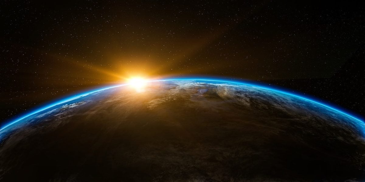 A view from space of a sunrise over Earth