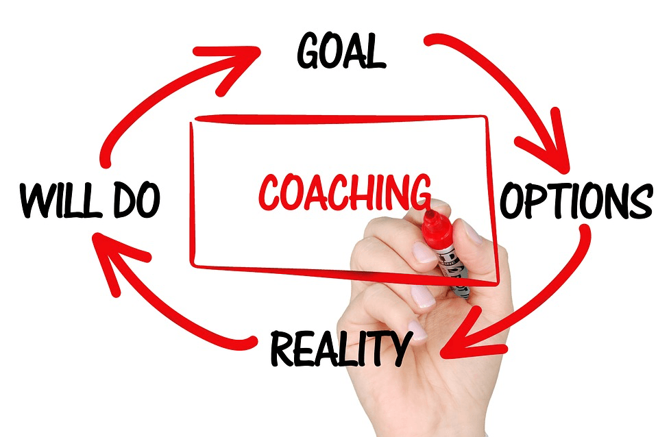 "Whiteboard graphic of a circle with ""coaching"" in the middle . The words goal, options, reality, will do are arranged in a circle with arrows pointing to the next word."