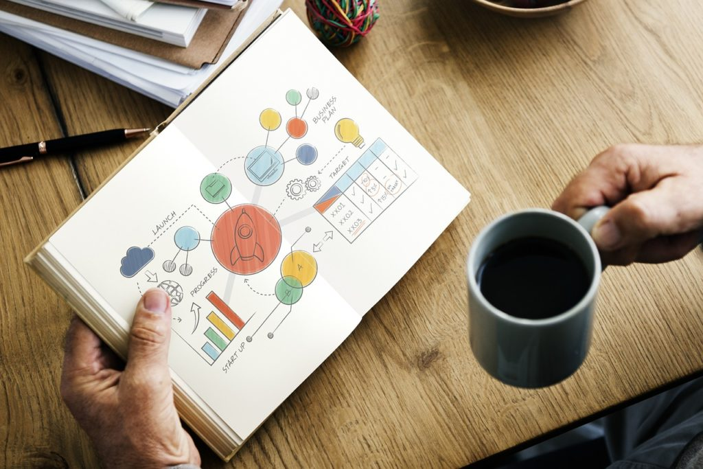 Person holding a copy cup over a desk with one hand, and looking at a business planning schematic in the other hand. Pen, papers on the desk