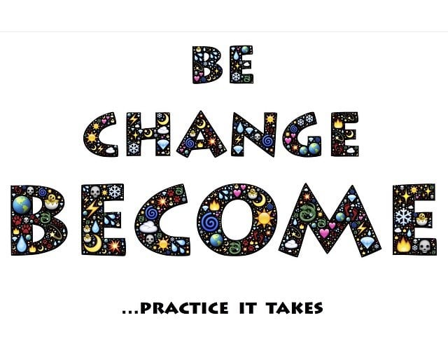In colourful bold, capital letters filled with stars, moons, sun and clouds, the graphic reads Be, Change, Become … Practice It Takes