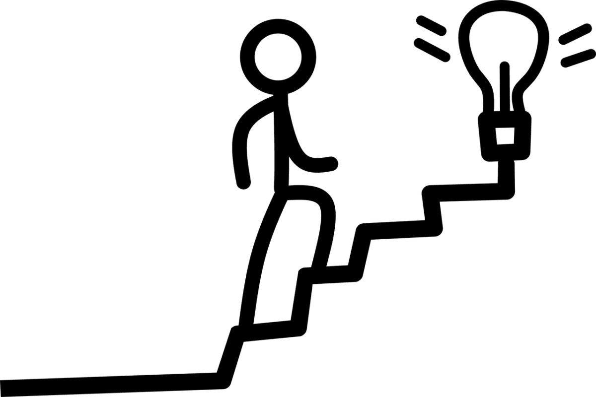 Black and white graphic with a stick person striding up stairs to a light bulb in quotation marks
