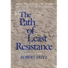 Cover of the first edition of Robert Fritz's book, The Path of Least Resistance: Principles For Creating What You Want To Create. The cover is textured grey, and the title is dark blue.