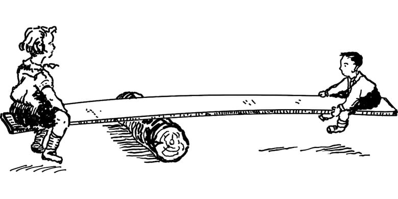 Black and white graphic of two kids on a teeter totter made with a log and a plank. A young boy on one end, an older girl on the other.